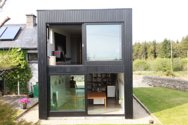 This extension to a converted schoolhouse is located outside Boyle, Co Roscommon.