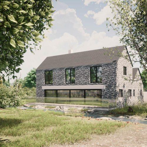 house by a stream sketch